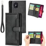 Multiple Card Slots Split Leather Phone Cover Case for iPhone 12 5.4-inch – Black