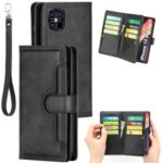 Multiple Card Slots Split Leather Phone Cover Case for iPhone 12 Pro Max 6.5-inch – Black