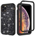 Glitter Powder Shockproof TPU PC Hybrid Phone Case for iPhone 11 Pro Max 6.5-inch – Black