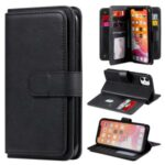 Multi-function 10 Card Slots Wallet TPU+PU Leather Phone Casing for iPhone 11 6.1 inch – Black