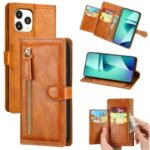 Zipper Pocket Leather Stand Case with Card Slots for iPhone 12 Pro Max 6.7 inch – Orange