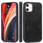 Phone Shell Crazy Horse Texture PU Leather Coated TPU Case for iPhone 12 5.4 inch – Black