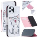 Pattern Printing Leather Wallet Shell for iPhone 12 Max/Pro 6.1 inch – Happy Cat