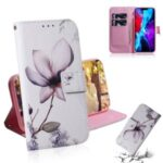 Pattern Printing PU Leather Wallet Case for iPhone 12 5.4-inch – Flower