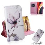 Pattern Printing PU Leather Wallet Cover Case for iPhone 12 Pro Max 6.7-inch – Beautiful Flower