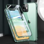Magnetic Installation Metal Frame + Tempered Glass Full Covering Phone Cover for iPhone 11 6.1 inch – Green