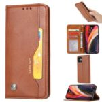 Classic Auto-absorbed Leather Wallet Cover with Stand for iPhone 12 Max/Pro 6.1 inch – Brown
