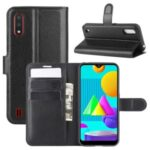 Litchi Texture Wallet Stand Leather Shell Cover for Samsung Galaxy M01 – Black