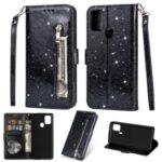 Flash Powder Zipper Pocket Wallet Flip Leather Phone Cover with Strap for Samsung Galaxy A21s – Black
