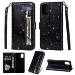 Flash Powder Zipper Pocket Wallet Flip Leather Phone Shell with Strap for Samsung Galaxy A31 – Black