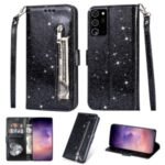 Flash Powder Zipper Pocket Wallet Flip Leather Phone Case with Strap for Samsung Galaxy Note 20 – Black