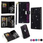 Glittery Starry Style Laser Carving Leather Unique Shell for Samsung Galaxy A31 – Black