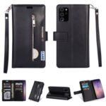 Multi-slot with Wallet Zippered Leather Cover for Samsung Galaxy Note 20 – Black