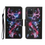 Pattern Printing Wallet Stand Leather Case for Samsung Galaxy Note20 Ultra/Note20 Ultra 5G – Luminous Butterfly