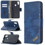 Crocodile Skin Assorted Color Style Leather Wallet Sttand Case for Samsung Galaxy M11 / A11 – Blue