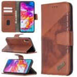 Assorted Color Crocodile Skin Leather Wallet Case for Samsung Galaxy A70 – Brown