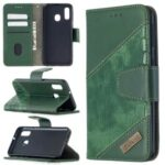 Assorted Color Crocodile Skin Leather Wallet Case for Samsung Galaxy A40 – Green