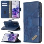 Crocodile Skin Assorted Color Style Leather Wallet Case for Samsung Galaxy S20 – Blue