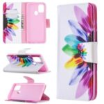 Pattern Printing Magnetic Leather Wallet Case for Samsung Galaxy A21s – Colorful Petals