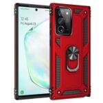 Hybrid PC TPU Kickstand Armor Phone Case Cover for Samsung Galaxy Note 20/Note 20 5G – Red