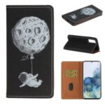 Pattern Printing Leather Case Wallet Phone Cover with Strap for Samsung Galaxy Note 20 – Astronaut