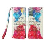 Light Spot Decor Pattern Printing Wallet Stand Leather Casing with Strap for Samsung Galaxy Note 20/Note 20 5G – English Letters