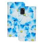 Pattern Printing Leather Wallet Case for Samsung Galaxy A21s – Blue Flower