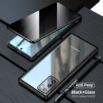 Magnetic Metal Frame + Double-sided Tempered Glass Anti-peep Case Shell for Samsung Galaxy Note 20/Note 20 5G – Black