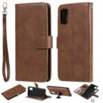 Detachable 2-in-1 Leather Wallet Mobile Phone Case for Samsung Galaxy A41 (Global Version) – Brown
