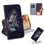 Pattern Printing PU Leather Wallet Case for Samsung Galaxy Note20 Ultra 5G / Galaxy Note20 Ultra – Lion