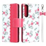 Flowers Printing Surface PU Leather + TPU Shell for Sony Xperia 1 II – Red