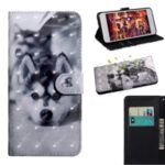 Light Spot Decor Patterned Magnetic Leather Stand Case for LG K41S – Black and White Wolf