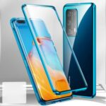 Metal+Tempered Glass with Mirror Phone Case for Huawei P40 Pro+ – Blue