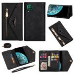 Multiple Card Slots Zipper Wallet Leather Case with Short/Long Strap for Huawei P40 lite 4G/nova 6 SE/nova 6 SE – Black