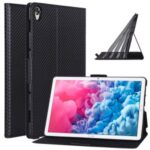 Ultra-thin Carbon Fiber Skin Stand Leather Tablet Cover for Huawei MatePad 10.8 (2020) – Black