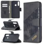 Crocodile Skin Assorted Color Leather Wallet Phone Case for Huawei Y6p – Black