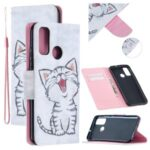 Pattern Printing Leather Wallet Case Cover for Huawei P smart 2020 – Happy Cat