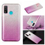 Gradient Color Glittery Powder PC+TPU Combo Case for Huawei P smart 2020 – Purple