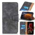 Retro Style Split Leather Wallet Phone Shell for Motorola Moto G 5G Plus – Grey