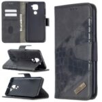 Crocodile Skin Assorted Color Style Leather Wallet Case for Xiaomi Redmi Note 9 / Redmi 10X 4G – Black