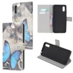 Pattern Printing Magnetic Leather Stand Case for Xiaomi Redmi 9A – Blue Butterfly