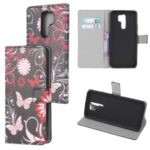 Pattern Printing Leather Wallet Case for Xiaomi Redmi 9 – Butterfly and Flowers