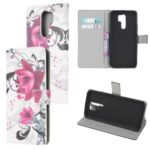 Pattern Printing Leather Wallet Case for Xiaomi Redmi 9 – Purple Flowers