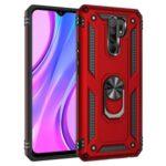 Hybrid PC TPU Kickstand Armor Phone Case Shell for Xiaomi Redmi 9 – Red