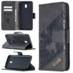 Crocodile Skin Assorted Color Leather Wallet Phone Cover for Xiaomi Redmi 8A – Black