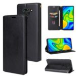 Crazy Horse Auto-absorbed Leather Wallet Cover for Xiaomi Redmi Note 9/Redmi 10X 4G – Black