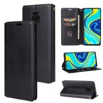 Crazy Horse Auto-absorbed Leather Case for Xiaomi Redmi Note 9S/Note 9 Pro/Note 9 Pro Max – Black