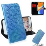 Flower Pattern Leather Stand Wallet Case for Xiaomi Redmi 9C – Blue