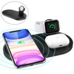 A04 3-in-1 Multifunctional Wireless Charger 10W Charging Dock Station Holder Stand fo Apple Watch AirPods and Qi Standard Smartphones – Black