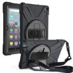 360° Rotation PC + Silicone Tablet Case (Kickstand+Hand Strap+Shoulder Strap) for Amazon Fire HD 8 (2020) – Black